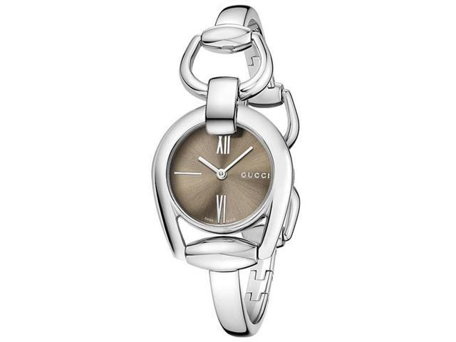 3108eda225e Gucci Horsebit Collection Brown Dial Stainless Steel Ladies Watch YA139501