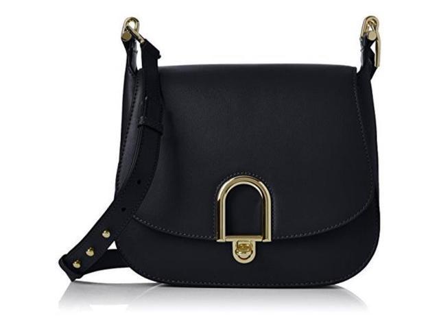18ca55ef74ba Michael Kors Delfina Large Leather Saddlebag - Black - 30T7GDZM3L-001