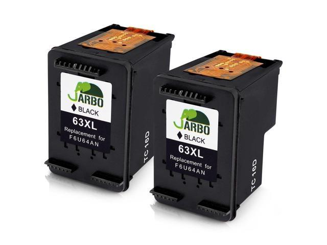 JARBO Replacement HP 63 Black Ink Cartridge 2 Packs with Ink Level Display  for F6U64AN Use in HP Envy 4520 4516 Officejet 4650 3830 3831 4655 Deskjet