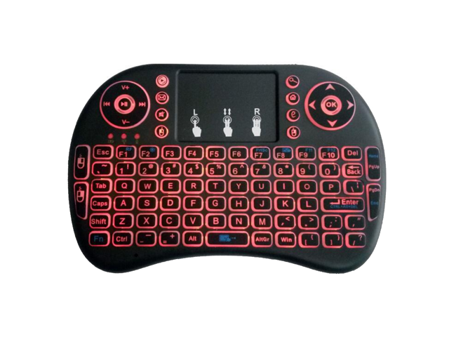 Remote backlight Mini Wireless Keyboard, i8 plus 2 4GHz Portable 3 color  backlight Wireless Keyboard with Touchpad Mouse, Best For Android Smart Tv