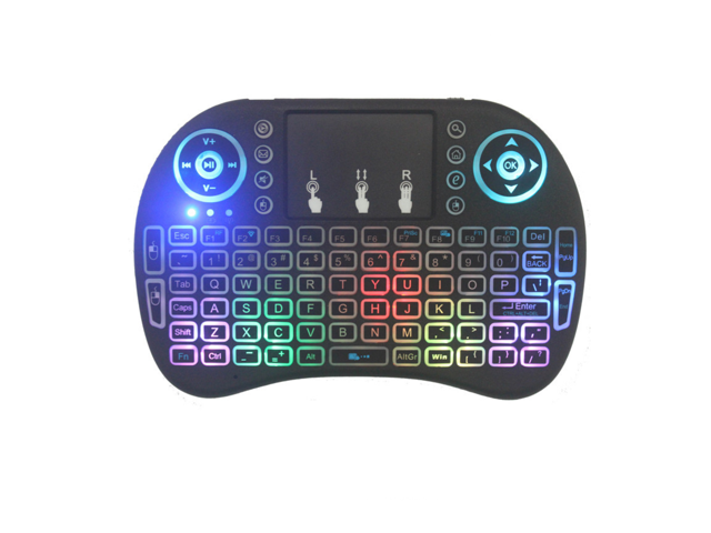 a28b66bcb19 3 color backlight I8 2.4ghz Mini Wireless Keyboard , 2.4GHz Portable with  Touchpad Mouse