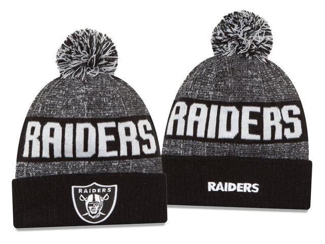 New Era NFL 2016 Sideline Knit Pom Beanie Hat - Oakland Raiders ... b1b0f8b77eb