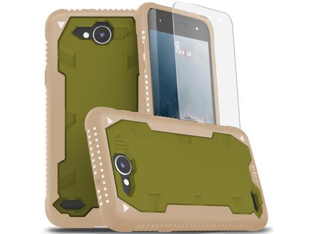 on sale 4f9e3 41f3c Zizo PROTON 2.0 Series compatible with LG X Charge Case Military Grade Drop  Tested with Tempered Glass Screen Protector LG X Power 2 LV7 TAN CAMOGREEN  ...