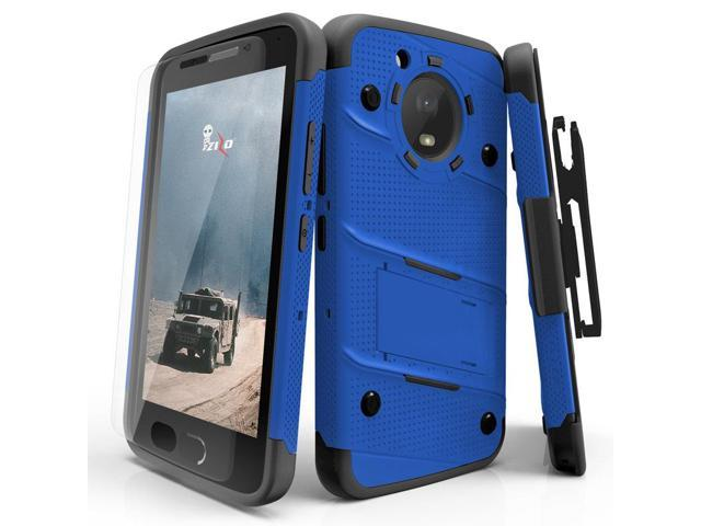 Zizo BOLT Series compatible with Motorola moto e4 Case Military Grade Drop  Tested with Tempered Glass Screen Protector, Holster BLUE BLACK -