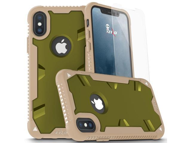 best value a4023 65894 Zizo PROTON 2.0 Series compatible with iPhone X Case Military Grade Drop  Tested with Tempered Glass Screen Protector iPhone XS Case DESERT CAMO  GREEN ...
