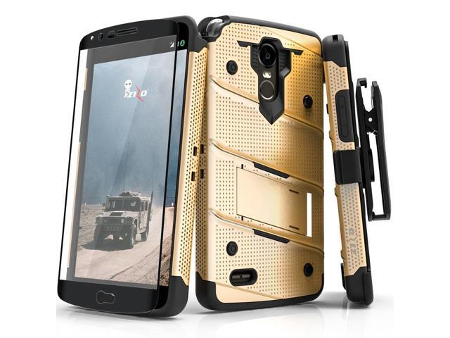 Zizo BOLT Series compatible with LG Stylo 3 Case Military Grade Drop Tested  with Tempered Glass Screen Protector, Holster, Kickstand GOLD BLACK -