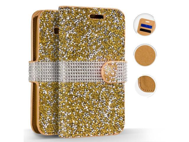 on sale ebd1a e561f iPhone X Case - ZV Diamond Bling Flap Cover [Wallet Pouch w/ Credit Card  Slots And ID Holder] Slim Fit Protective Wallet Case - Newegg.com