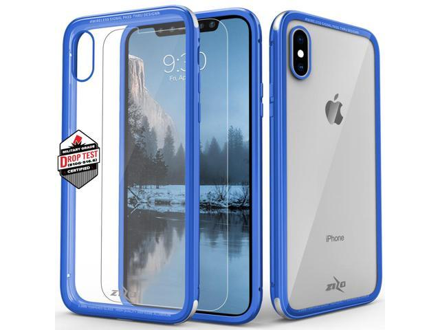 23f208ffc1c4 Zizo ATOM Series compatible with iPhone X Case Military Grade Drop Tested  with Tempered Glass Screen Protector iPhone XS case BLUE