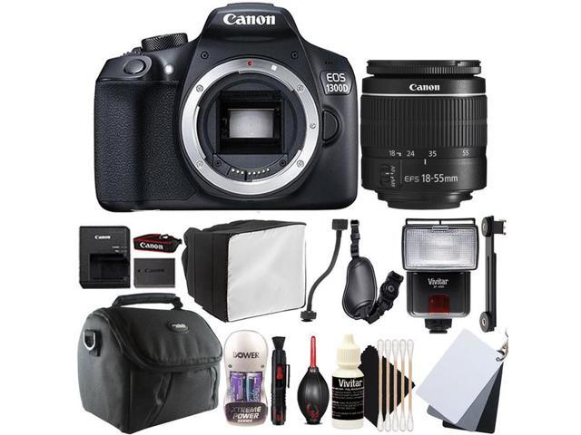 Canon EOS 1300D 18MP Digital SLR Camera with 18-55mm EF-IS STM Lens ,  SF-4000 Slave Flash and Top Accessory Bundle - Newegg com