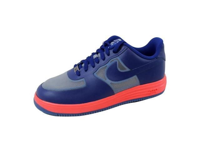Nike Men's Lunar Force 1 Fuse Leather Wolf Grey/Deep Royal Blue-Atomic Red 599839-001 Size 8
