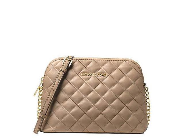 f34eaa986a1bac MICHAEL Michael Kors Cindy Large Dome Crossbody Quilted Costa Lamb 18K,  Color Bisque