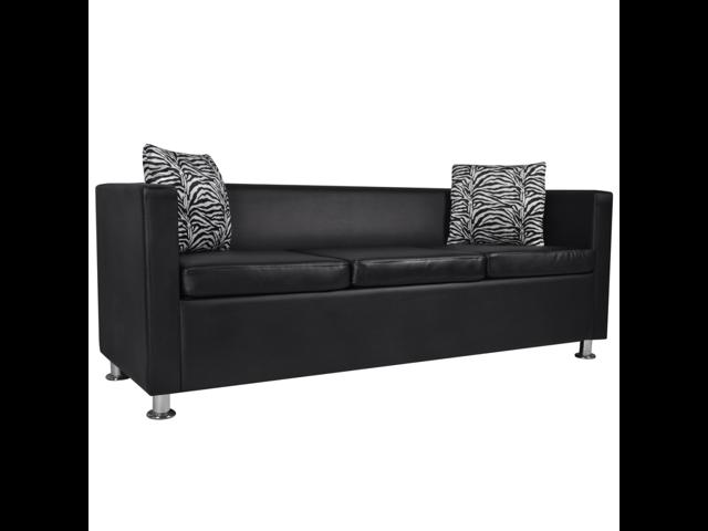Artificial Leather 3-Seater Sofa Black - Newegg.com