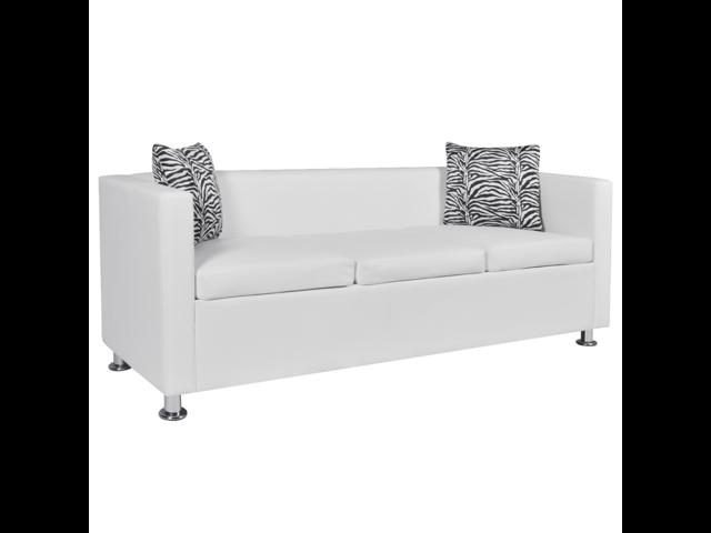 Artificial Leather 3-Seater Sofa White - Newegg.com