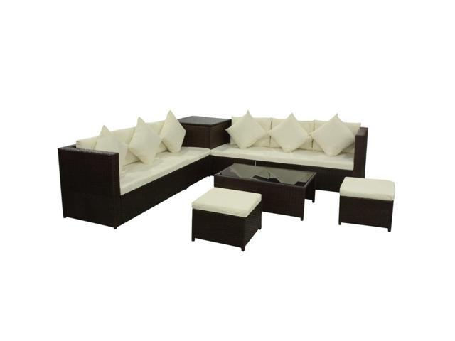 vidaXL 26 Piece Garden Sofa Set Poly Rattan Brown - Newegg.com
