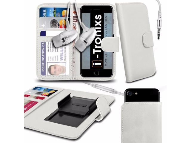 size 40 07a6f 44b75 iTronixs - Alcatel Lume (4 inch) Case Clamp Style Wallet Protective PU  Leather Cover With Earphone - White - Newegg.ca