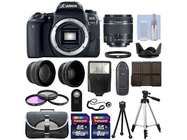 Canon EOS 77D DSLR Camera Body + 3 Lens Kit 18-55mm IS STM + 24GB + Flash & More