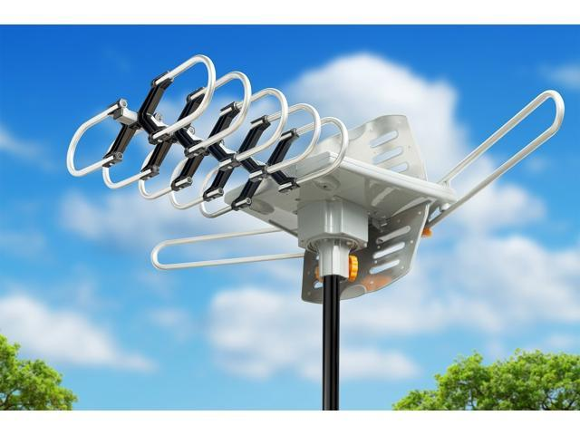 HDTV Antenna Outdoor 150 Mile Long Range Amplified Digital Outdoor TV  Antenna with Signals UHF/VHF/FM/Radio - 360°Rotation - High Performance  Outdoor