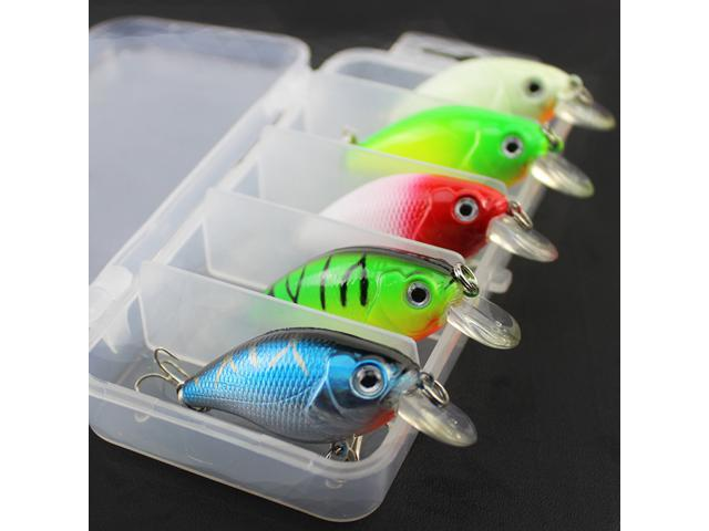 5pcs Fishing Lures Crankbaits Hook Minnow Baits Crank Fishing Tackle Set