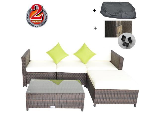 Peachy Outime Re Configurable Outdoor Rattan Sofa Set Garden Lawn Rattan Sofa Cushioned Seat Iron Pipe And Pe Rattan Easy Cleaning Cloth Weatherproof Brown Short Links Chair Design For Home Short Linksinfo