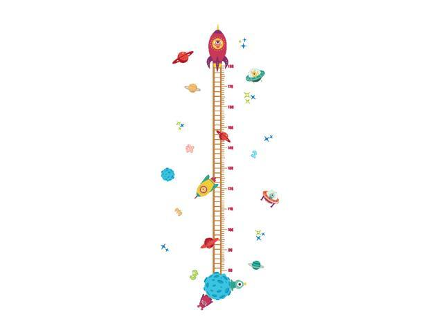 Space Spacecraft Sticker Kids Height Measure Ruler Nursery Growth