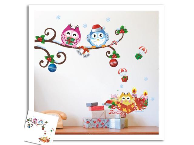 Colorful Owls Christmas Decoration Wall Stickers Removable Diy Pvc Walls Decor Art For Living Room Children Bedroom Kindergarten Gift