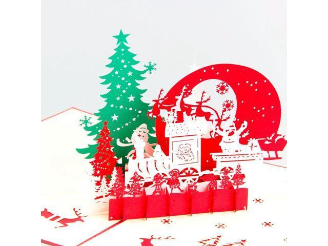 Christmas Postcards.10pcs Christmas Eve Merry Christmas Postcards 3d Laser Cut Pop Up Paper Custom Handmade Blessing Cards Newegg Com