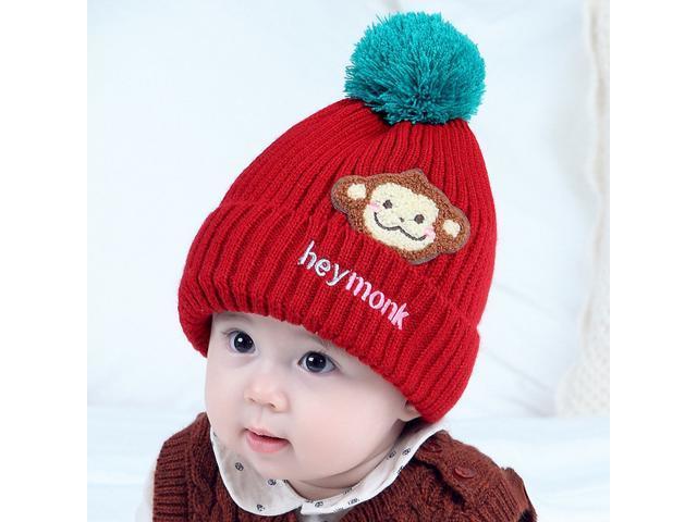 4229cbfa7c0 Kids Thick Hats Baby Infant Winter Warm Crochet Knit Hat Monkey Cap