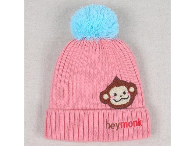 76abcd91f28 Kids Thick Hats Baby Infant Winter Warm Crochet Knit Hat Monkey Cap
