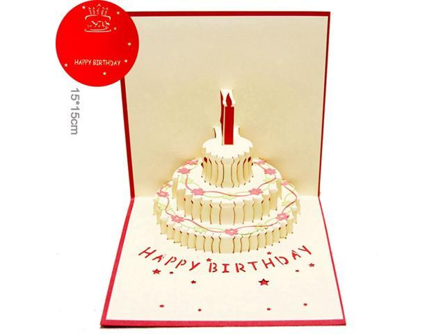Birthday Cake 3D Paper Laser Cut Pop Up Handmade Post Cards Custom Gift Greeting