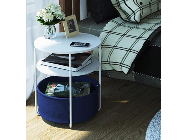 Mini Round Side Coffee Table Carbon Steel Bedside Corner Desk With Cloth Storage Container Three Layers