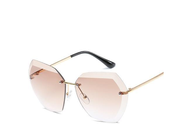 Vintage Rimless Sunglasses Oversized Retro Female Sunglass Sun Glasses 2018