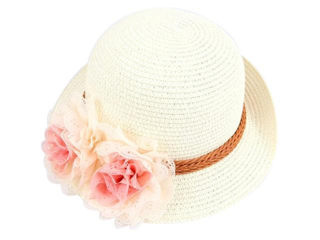 4c65f9f2 Summer Kids Floral Straw Hats Fedora Hat Baby Girls Sunhat Wide Brim Floppy  Cap