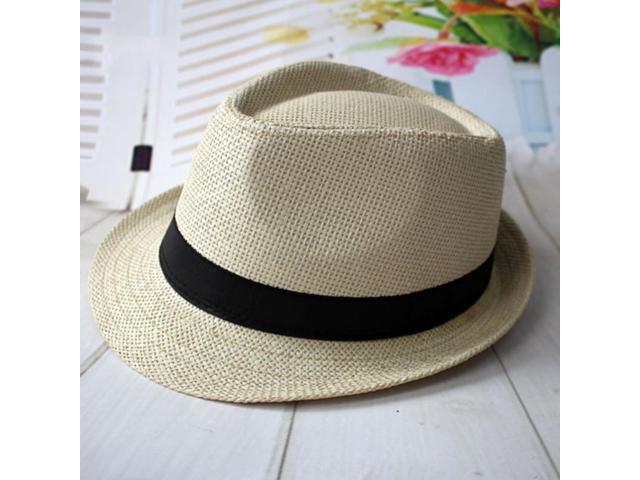 6dc05ad8ece22 Beach Sunhat Fedora Hat Trilby Straw Panama Cap for Men ...