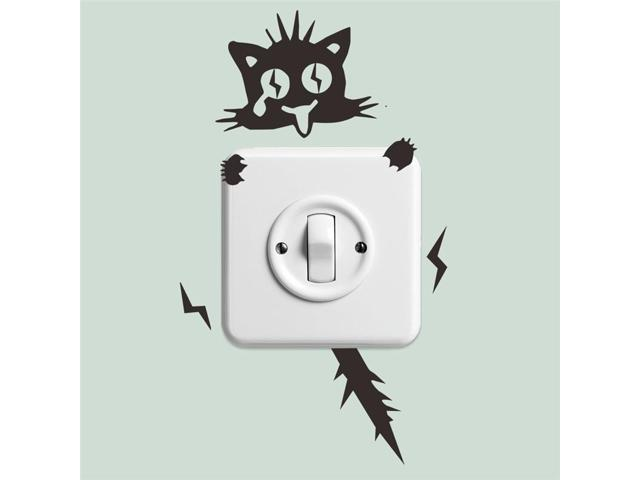 Electric Shock Cat Wall Stickers Light Switch Decor Decals Home