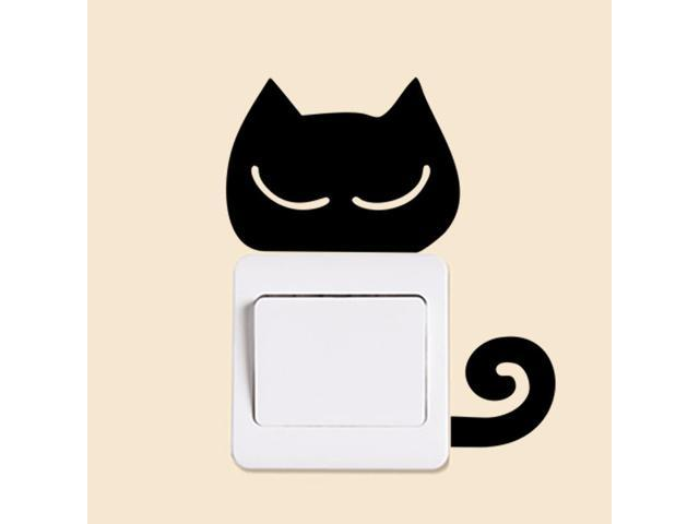 Funny Cat Wall Stickers Light Switch Decor Decals Home Decor
