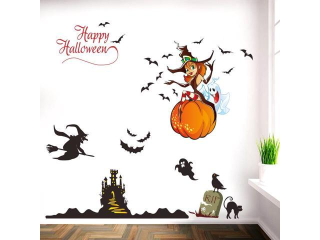 Halloween Decorations Witch Bats Stickers Removable PVC Decals For Kids  Room Living Room Bedroom , Newegg.com