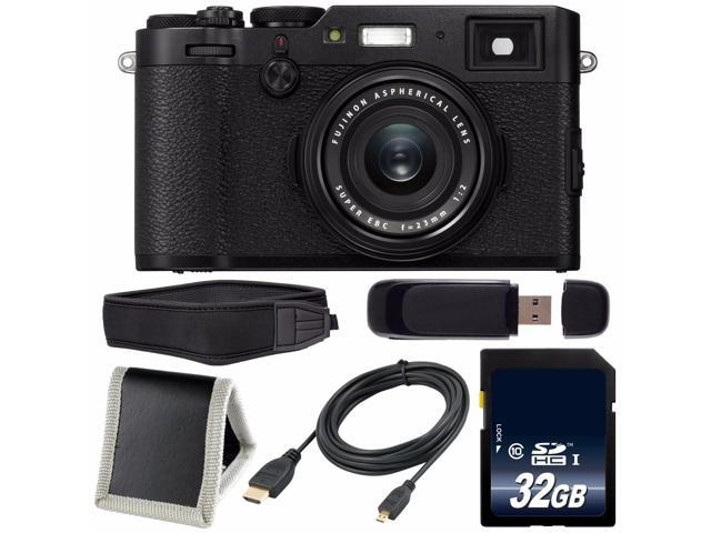 Fujifilm X100F Digital Camera (Black) International Model 16534651 + 32GB  SDHC Class 10 Memory Card + Micro HDMI Cable + Memory Card Wallet + SD Card