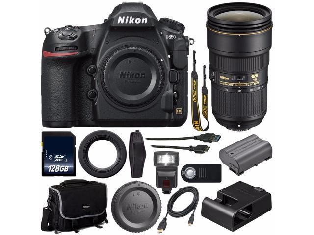 Nikon D850 DSLR Camera (Body Only) + Nikon AF-S NIKKOR 24-70mm f/2 8E ED VR  Lens + 128GB SDXC Class 10 Memory Card + External Flash + Mini HDMI Cable