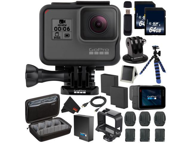 GoPro HERO6 Black + 64GB microSDXC Card + Battery For Gopro Hero + Micro HDMI Cable + Custom GoPro Case for GoPro HERO4 and GoPro Accessories + SD Card USB Reader + MicroFiber Cloth Bundle