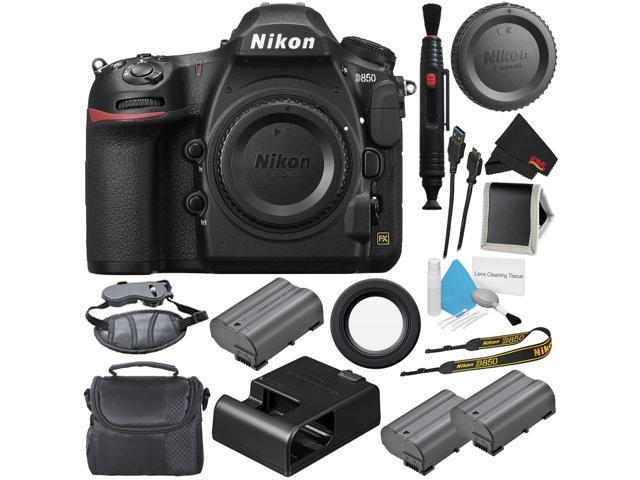 Nikon D850 DSLR Camera (Body Only) 1585 (International Model) + EN-EL15  Replacement Li-on Battery + Carrying Case + Deluxe Cleaning Kit +  MicroFiber