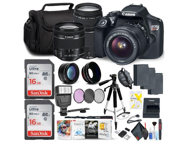 Canon Rebel T6 DSLR Camera with 18-55mm Lens and Canon EF-S 75-300mm Lens  Memory Card, Photo Software (Mac), 3 Battery Bundle
