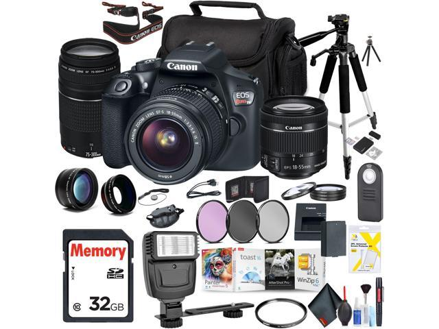 Canon EOS Rebel T6 DSLR Camera with 18-55mm Lens with Canon EF-S 75-300mm  Lens, Mac Essentials Photo Suite Accessories Bundle - Newegg com