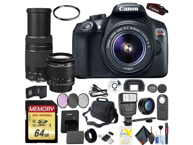 Canon EOS Rebel T6 DSLR Camera with 18-55mm Lens with Canon EF-S 75-300mm  Lens, 64GB High Speed Mem Card Mega Accessory Combo