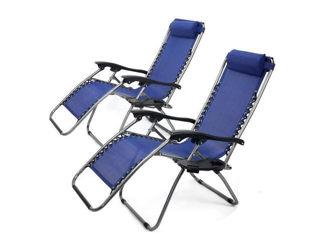 Fabulous Set Of 2 Outdoor Black Zero Gravity Lounge Chair With Pillow Uwap Interior Chair Design Uwaporg