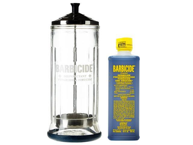 King Research Barbicide Disinfecting Jar Large 37oz + Disinfectant 16oz -  Newegg com