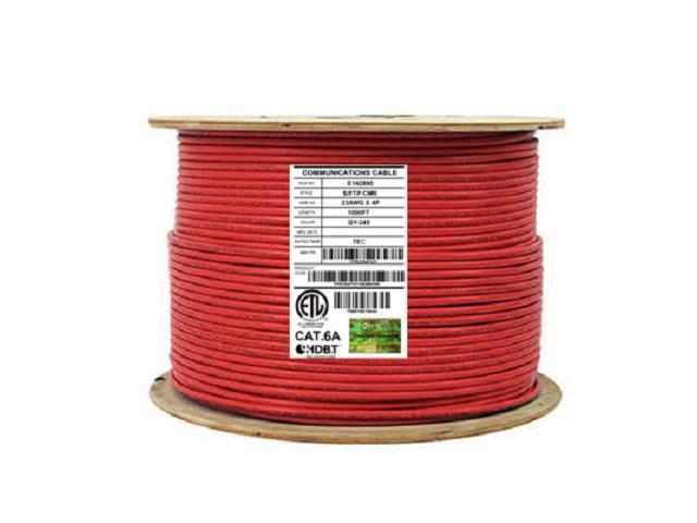 24 AWG 1000FT CAT5E Plenum Bulk Ethernet Cable Red CMP UL Listed Solid Copper UTP