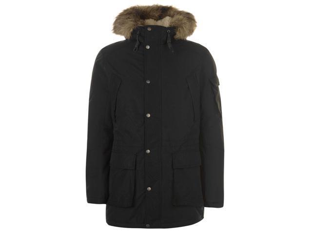 ad9d659447 Firetrap Mens Blackseal Bubble PU Padded Jacket Long Sleeve Full Zip Coat  Top