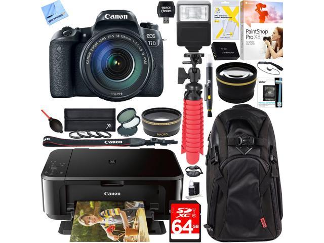 Canon EOS 77D Digital Camera w/ EF-S 18-135mm Lens + Canon PIXMA Printer Kit