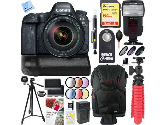 Canon EOS 6D Mark II DSLR Camera with 24-105mm IS II USM Lens + Canon  Battery Grip Kit - Newegg com