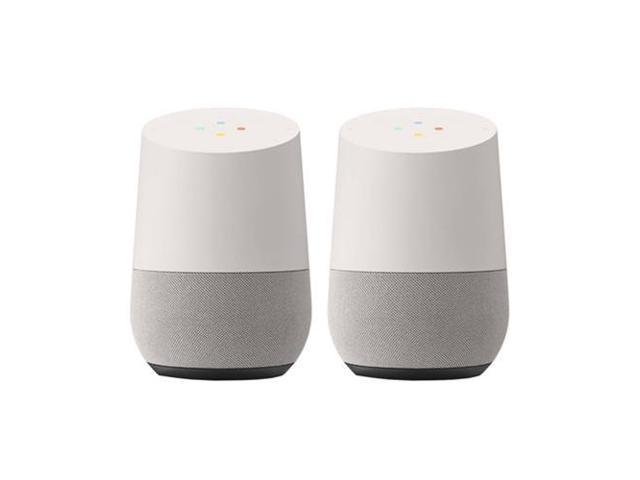 2 Pack Google Smart Speaker with Google Assistant (White/Slate)